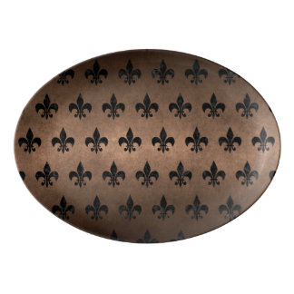 ROYAL1 BLACK MARBLE & BRONZE METAL PORCELAIN SERVING PLATTER