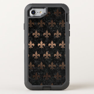 ROYAL1 BLACK MARBLE & BRONZE METAL (R) OtterBox DEFENDER iPhone 8/7 CASE