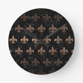 ROYAL1 BLACK MARBLE & BRONZE METAL (R) ROUND CLOCK