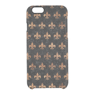 ROYAL1 BLACK MARBLE & BROWN STONE (R) CLEAR iPhone 6/6S CASE