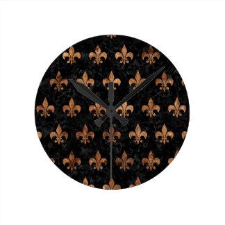 ROYAL1 BLACK MARBLE & BROWN STONE (R) ROUND CLOCK