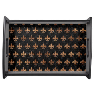 ROYAL1 BLACK MARBLE & BROWN STONE (R) SERVING TRAY