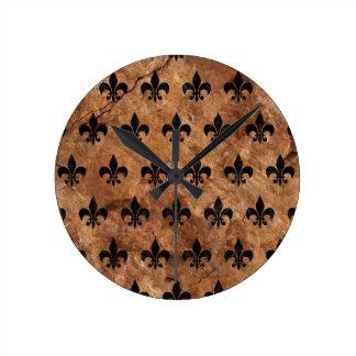 ROYAL1 BLACK MARBLE & BROWN STONE ROUND CLOCK