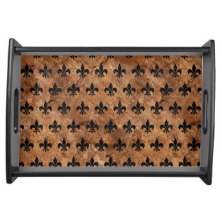 ROYAL1 BLACK MARBLE & BROWN STONE SERVING TRAY