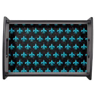 ROYAL1 BLACK MARBLE & TURQUOISE MARBLE (R) SERVING TRAY