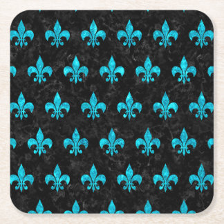 ROYAL1 BLACK MARBLE & TURQUOISE MARBLE (R) SQUARE PAPER COASTER