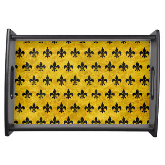 ROYAL1 BLACK MARBLE & YELLOW MARBLE SERVING TRAY