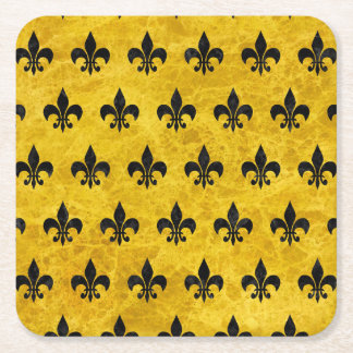 ROYAL1 BLACK MARBLE & YELLOW MARBLE SQUARE PAPER COASTER