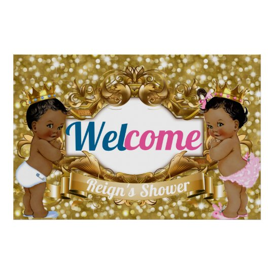 Royal African Gender Reveal Glitter Welcome Poster
