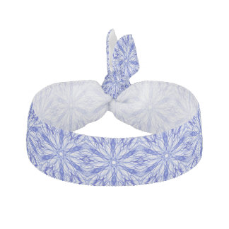 Royal and Mid Blue Winter Snowflake Fractal Ribbon Hair Tie