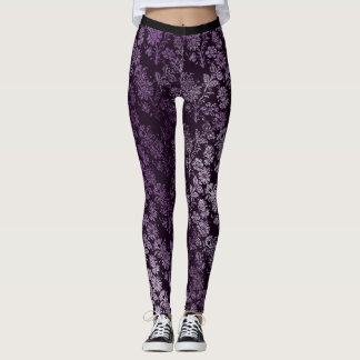 Royal Antonietta Black Purple Amethyst Plum Floral Leggings