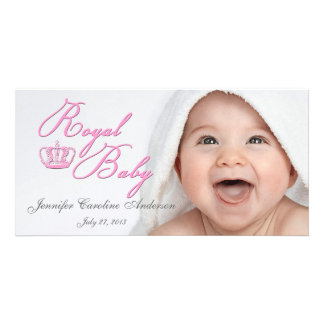 Royal Baby Pink With Crown Personalized Photo Card