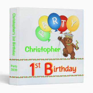 Royal Bear 1st Birthday Party Memories 1 Inch 3 Ring Binder