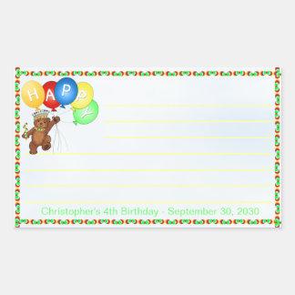 Royal Bear 4th Birthday Notes Scrapbooking Rectangular Sticker