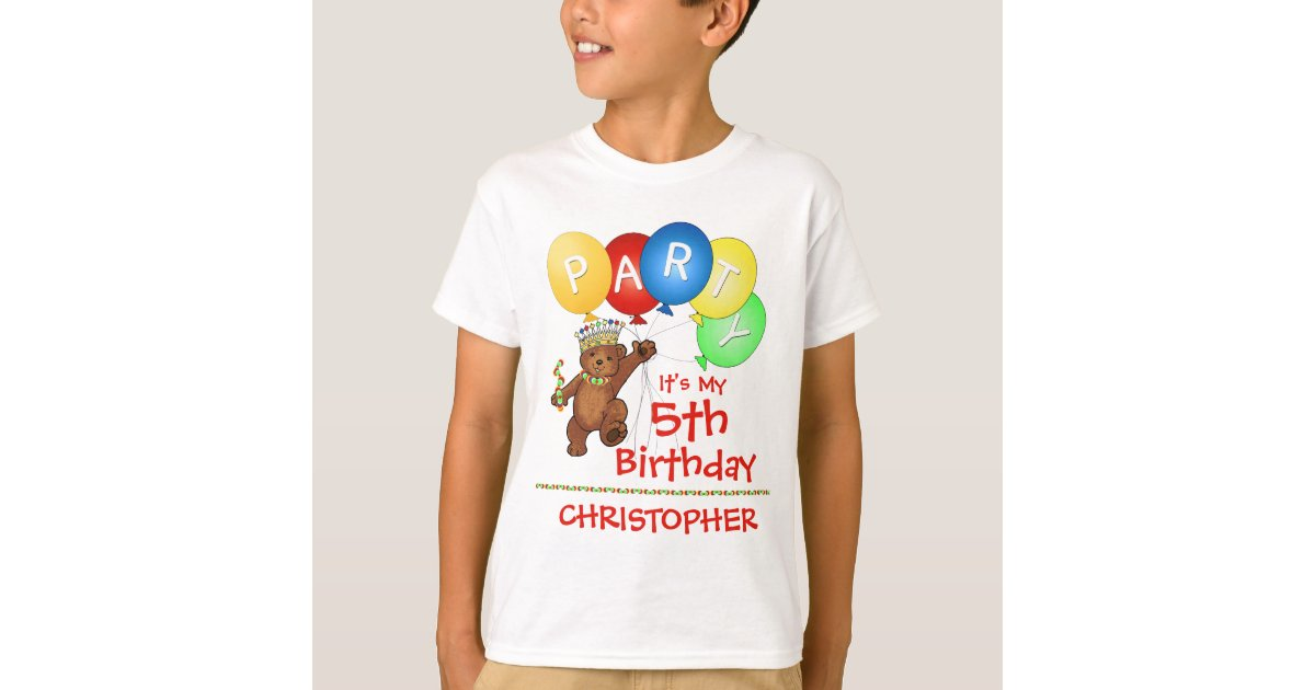 Royal bear 5th birthday party custom t shirt zazzle for Zazzle custom t shirts