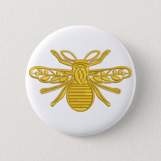 royal bee, imitation of embroidery 2 inch round button