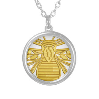 royal bee, imitation of embroidery silver plated necklace
