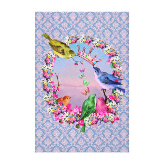 Royal Birds on Vintage Baroque Background Canvas Print
