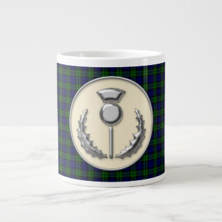 Royal Black Watch Tartan Plaid & Scottish Thistle Large Coffee Mug