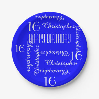 Royal Blue 16th Birthday Party Repeating Names Paper Plate