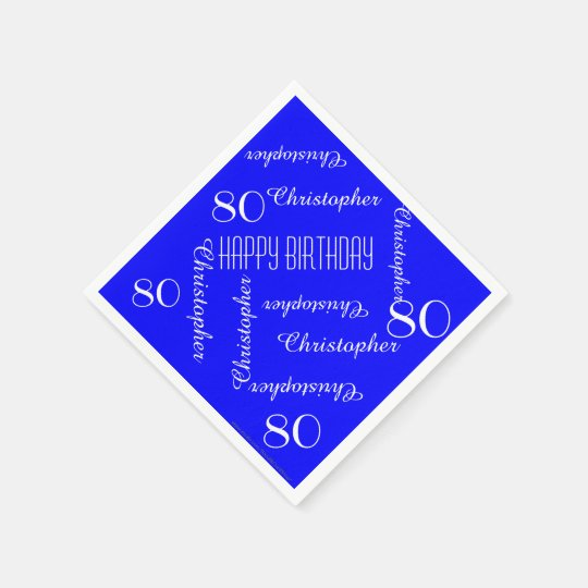 Royal Blue 80th Birthday Party Repeat Names, Paper Disposable Napkins