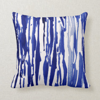 Royal Blue Abstract Stripes Throw Pillow