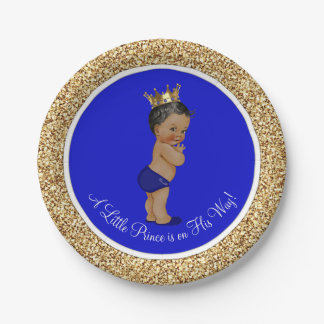 Royal Blue African American Prince Baby Shower 7 Inch Paper Plate