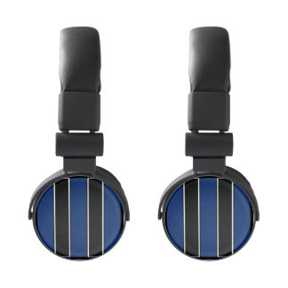 Royal Blue and Black-Striped Headphones