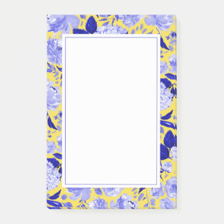 Royal Blue and Bright Yellow Watercolor Florals Post-it Notes