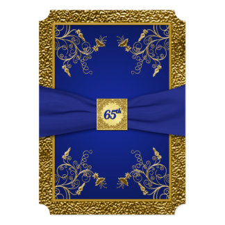 Royal Blue and Gold 65th Birthday Invitation