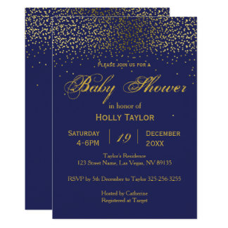 Royal Blue and Gold Baby Shower Invitation