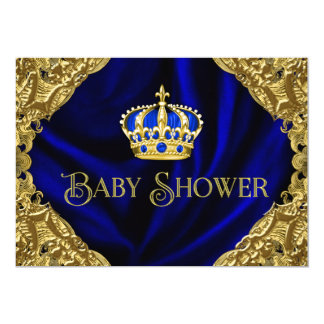 "Royal Blue and Gold Crown Baby Shower 5"" X 7"" Invitation Card"
