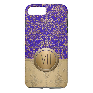 Royal Blue and Gold Damask Custom Monogram Pattern iPhone 8 Plus/7 Plus Case