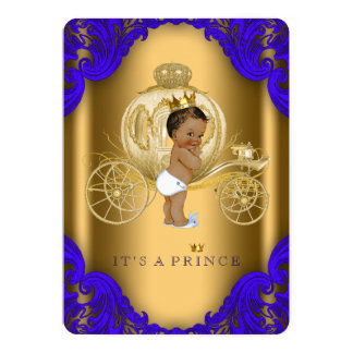 Royal Blue and Gold Ethnic Prince Baby Shower Card