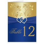 Royal Blue and Gold Floral Table Number Card