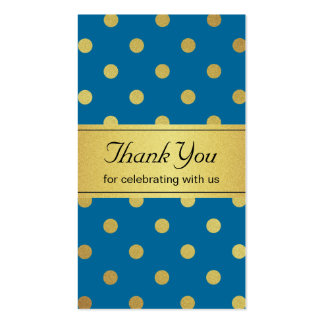 Royal Blue and Gold Glitter Polka Dots Thank You Pack Of Standard Business Cards