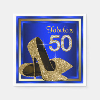 Royal Blue and Gold High Heel 50th Birthday Party Disposable Napkins