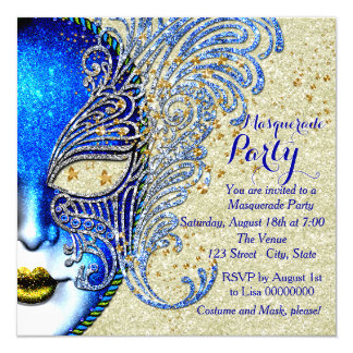 "Royal Blue and Gold Masquerade Party 5.25"" Square Invitation Card"