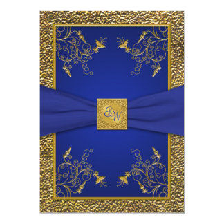 Royal Blue and Gold Monogram Wedding Invitation
