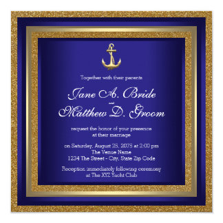 Royal Blue and Gold Nautical Wedding Card