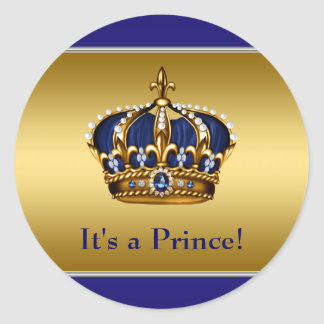 Royal Blue and Gold Prince Baby Shower Round Sticker