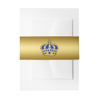 Royal Blue and Gold Prince Invitation Belly Band