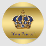 Royal Blue and Gold Royal Baby Shower Sticker