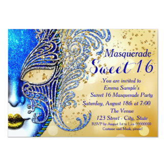 Royal Blue and Gold Sweet 16 Masquerade Party 4.5x6.25 Paper Invitation Card