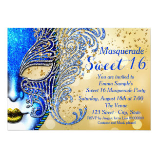 Royal Blue and Gold Sweet 16 Masquerade Party Custom Invitations