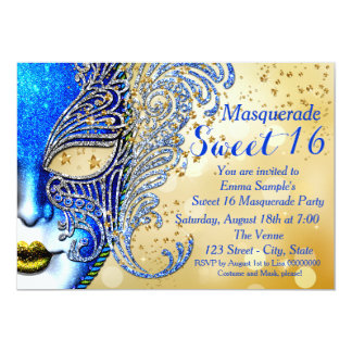 """Royal Blue and Gold Sweet 16 Masquerade Party 5"""" X 7"""" Invitation Card"""