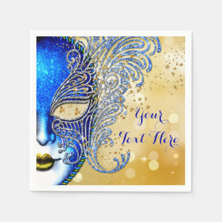 Royal Blue and Gold Sweet 16 Masquerade Party Paper Napkins