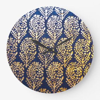 Royal Blue and Gold Tree of Life Pattern Large Clock