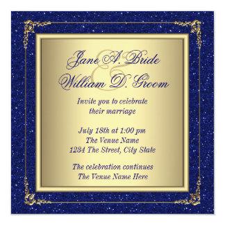 Royal Blue and Gold Wedding Card