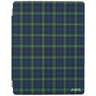 Royal Blue and Green Gordon Clan Tartan Monogram iPad Cover